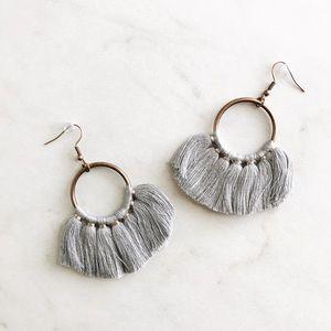 gray tassel fan shaped loop earrings